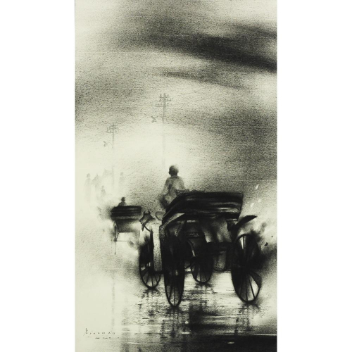 Ajay De charcoal painting