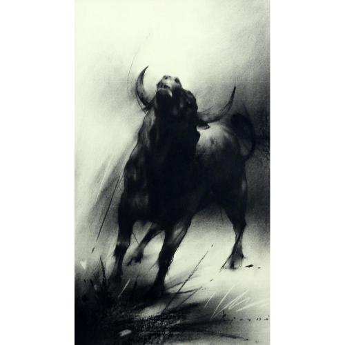 Ajay De raging bull painting