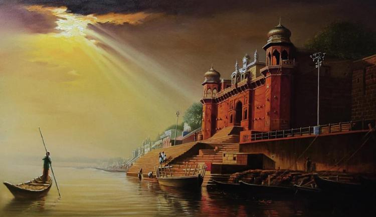 Amit Bhar painting of benares ghat