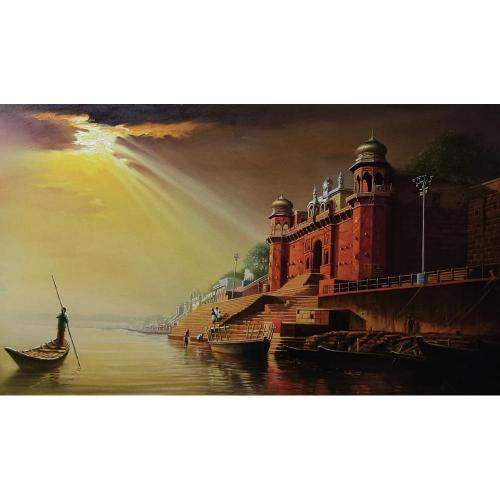 Amit Bhar banaras ghat painting