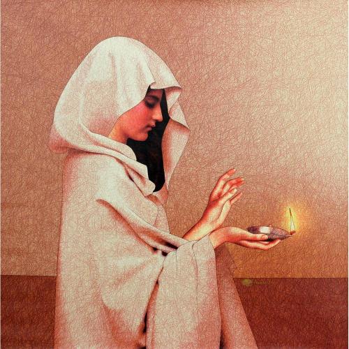 Amiya Bhattacharya figurative painting
