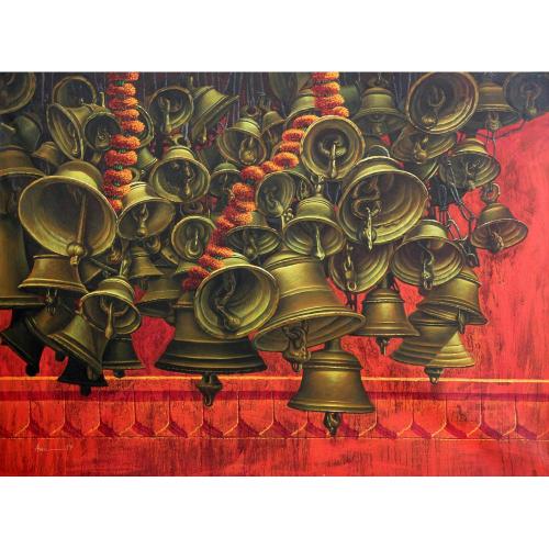Anil Kumar Yadav temple bells painting