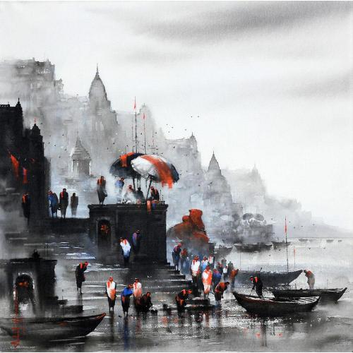 Ashif Hossain banaras ghat painting