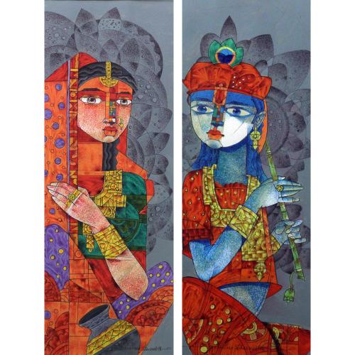 Dhiren Sasmal radha and krishna painting