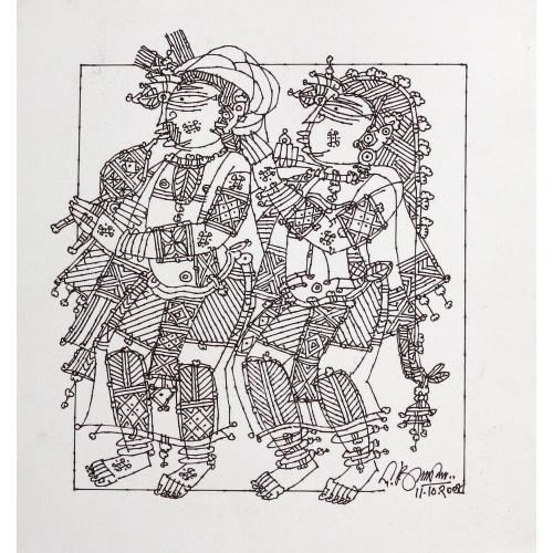 G Raman musicians painting