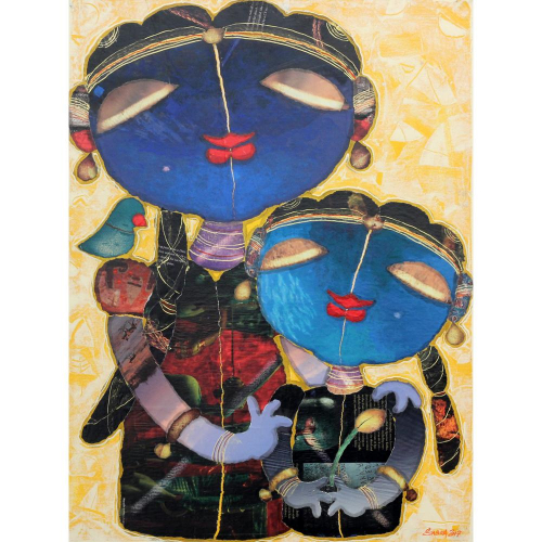 G Subramanian mother and daughter painting
