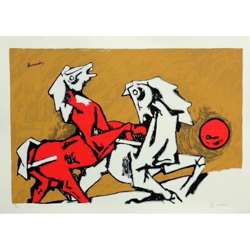 M F Hussain horse print