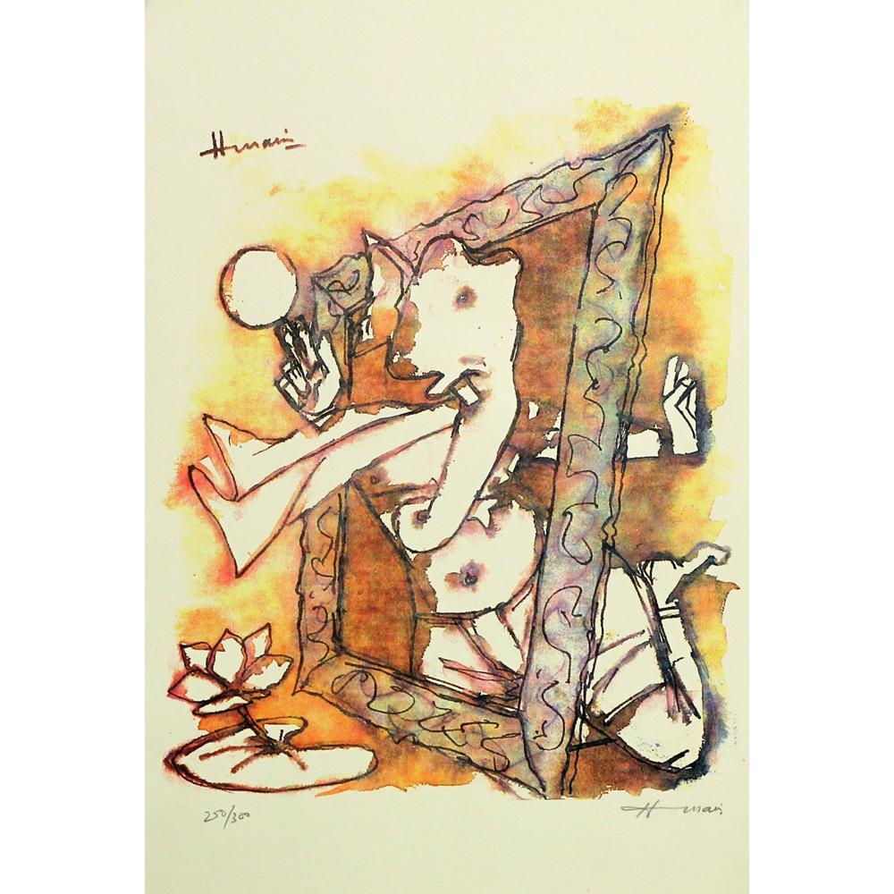 MF Hussain figurative print