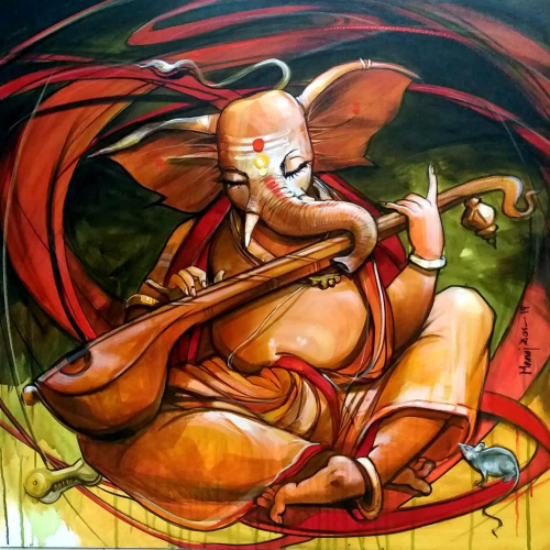 Manoj Das ganesha painting