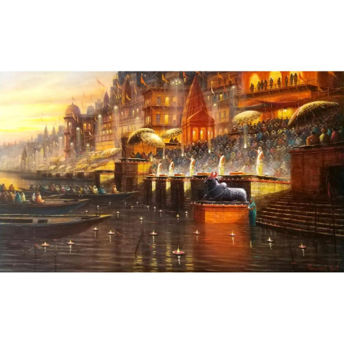 Paramesh Paul banaras ghat painting