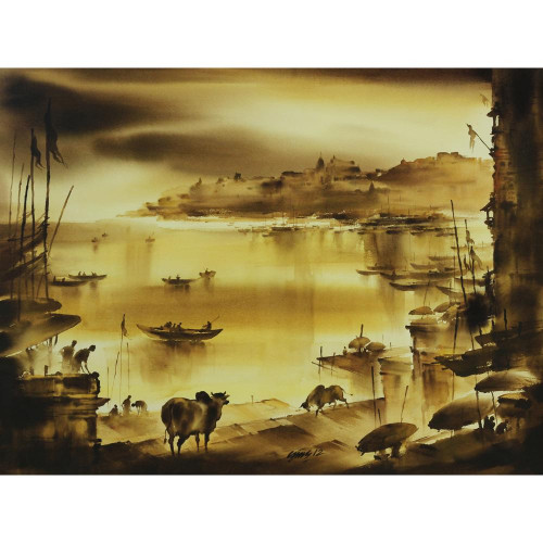 Pramod Kumar watercolour painting