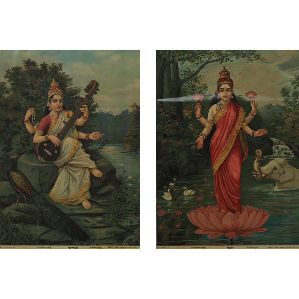 Raja Ravi Verma saraswati and lakshmi print
