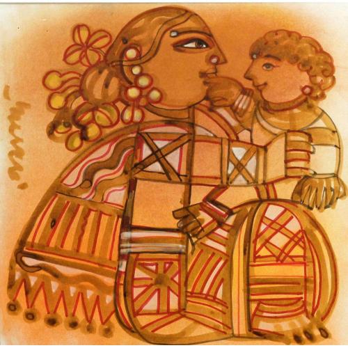 Ramananda Bandyopadhyay mother and child painting