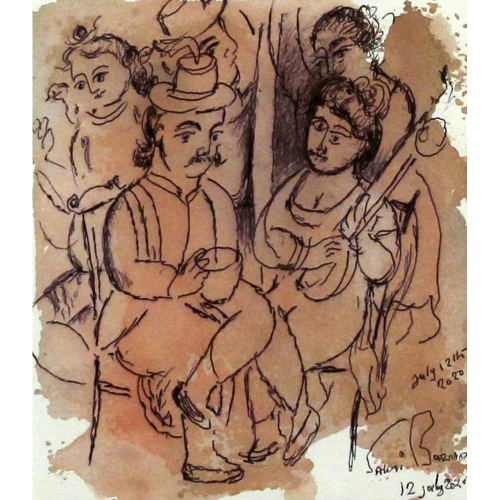 Sakti Burman watercolour painting