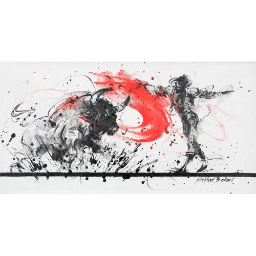 Shekhar Ballari Bull Fighting painting