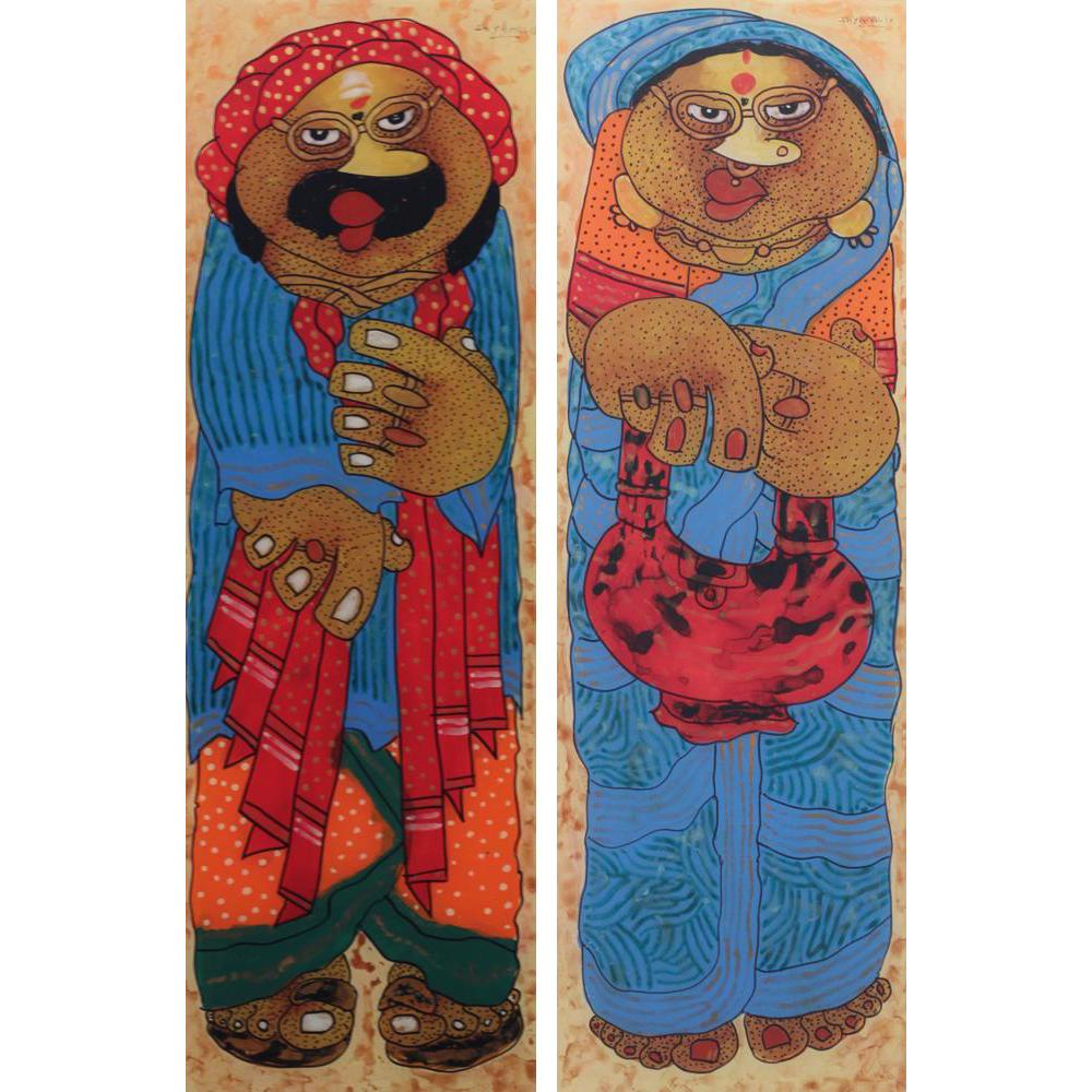 Shyamal Mukherjee Baba and Babi painting