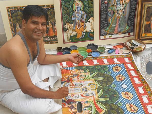 Sushil Soni Pichwai Artist in his Studio