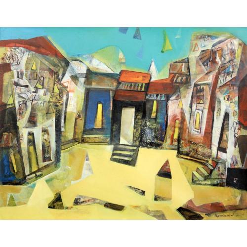 Tapas Ghoshal banaras ghat painting